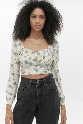 Urban Outfitters Fochette Ditsy Floral Long Sleeve Blouse - white XS at