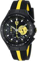 "Ferrari Men's 0830025 ""Race Day"" Stainless Steel Watch with Yellow-Striped Silicone Strap"