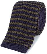 Gibson Olive And Navy Stripe Knitted Tie