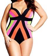 Kalin L Women Flattering Leopard Peekaboo Floral Plus Size Monokini Swimsuits