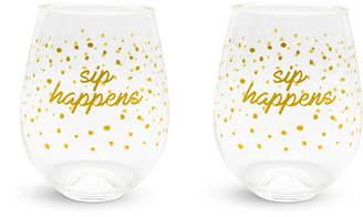Vera Bradley Dots Stemless Wine Glasses Set of 2