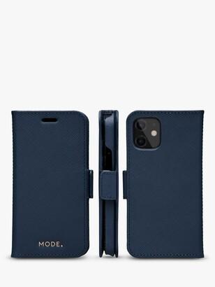MODE New York Leather dbramante1928 Folio/Cradle Case for iPhone 12 mini, Blue Ocean
