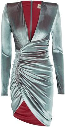 Alexandre Vauthier Draped Velvet Long Sleeve Dress