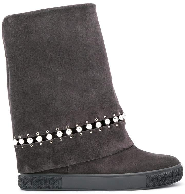 Casadei beaded detail foldover ankle boots