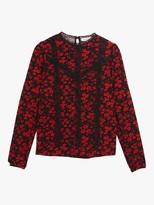 Oasis Floral Lace Trim Top, Black/Multi