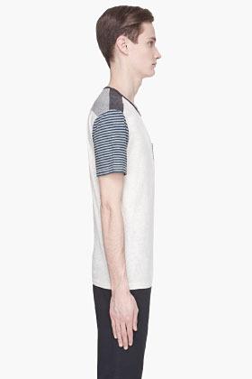 Edun Heather grey and navy Stripe Patchwork t-shirt