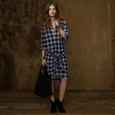 Denim & Supply Tie-Front Plaid Shirtdress