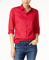 Tommy Hilfiger Polka-Dot Roll-Tab Shirt, Only at Macy's