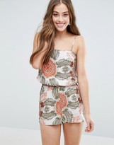 Vero Moda Super Easy Tube Strap Hawaiian Print Romper