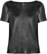 Maje Suzanno metallic leather and stretch-cotton top