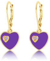 Kids Earrings - 925 Sterling Silver with a Yellow Gold Tone Purple Enamel Double Heart Leverback Children's Earrings Made with Swarovski Elements Kids, Children, Girls, Baby