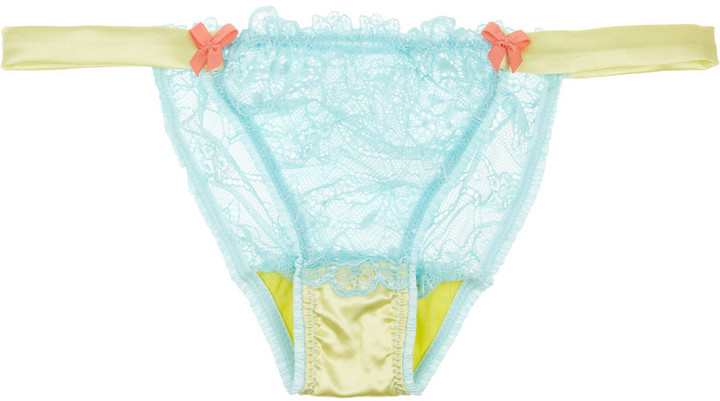Mimi Holliday Woozie lace and stretch-silk satin briefs