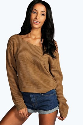 boohoo Crop Slash Neck Fisherman Sweater
