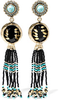 Etro Embellished Gold-plated Earrings - Black
