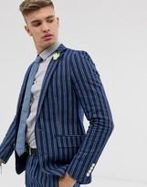 Gianni Feraud skinny fit linen blend stripe suit jacket