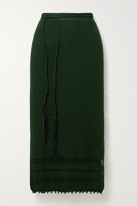 CARAVANA Leather-trimmed Fringed Cotton-gauze Pareo - Dark green