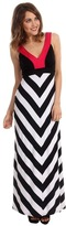 Karen Kane Black Stripe Banded Maxi Dress (Multi) - Apparel