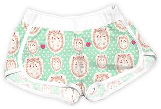 Urban Smalls Girls' Casual Shorts Multi - Mint Hedgehogs Polka Dot Shorts - Toddler & Girls