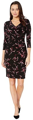 Lauren Ralph Lauren Printed Matte Jersey-Dress (Black/Parlor Red/Multi) Women's Dress