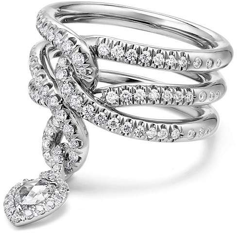 David Yurman Continuance Drop Ring with Diamonds in 18K Gold