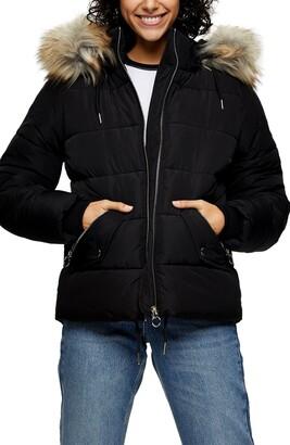 Topshop Frieda Faux Fur Trim Jacket