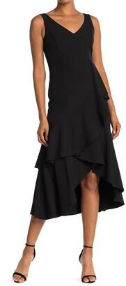 Taylor Laguna Ruffle Hem Sleeveless Dress