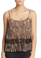 BCBGeneration Printed Lace-Trim Tank Top