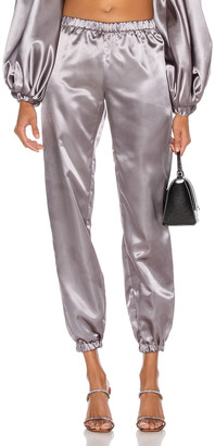 CHRISTIAN COWAN Satin Skinny Sweatpant in Grey 9 | FWRD