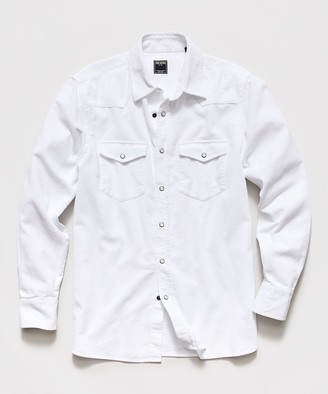 Todd Snyder Micro Corduroy Western Shirt in White