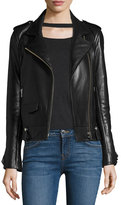IRO Dumont Lamb Leather Motorcycle Jacket w/ Ruffles