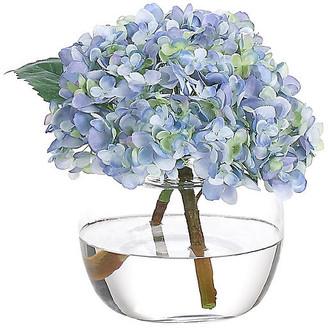 """10"""" Hydrangea in Bubble Vase - Faux - NDI - arrangement, blue; vessel, clear"""