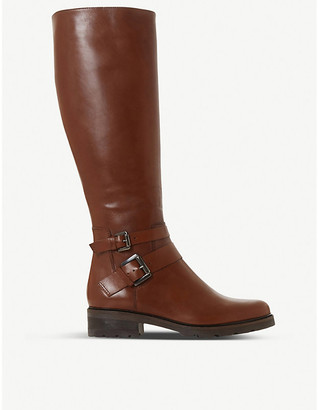 Dune Tambie double-buckle leather knee-high boots