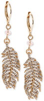 lonna & lilly Gold-Tone Crystal Feather Drop Earrings