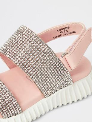 River Island Mini Girls Diamante Chunky Sole Sandals-Pink