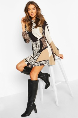 boohoo Animal Print Ruffle Neck Smock Dress