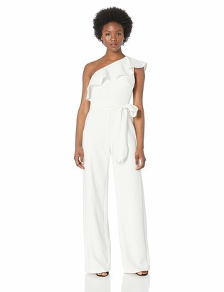 Adrianna Papell Women's Ruffle One Shoulder Jumpsuit with Tie Waist