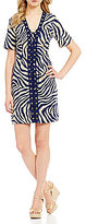 MICHAEL Michael Kors Zebra Print Washed Linen Grommet Trim Lace-Up Dress