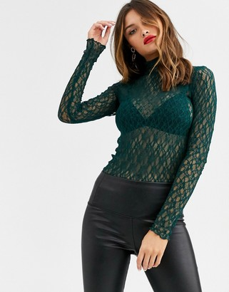 Y.A.S high neck long sleeve lace top