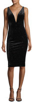 Jovani Sleeveless Studded Velvet Cocktail Dress