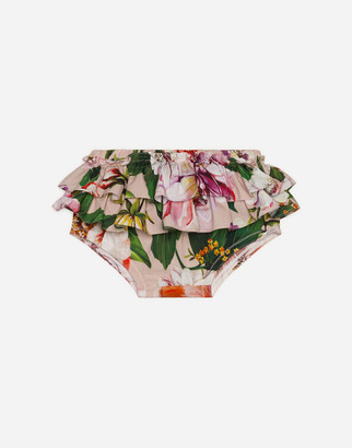 Dolce & Gabbana Poplin Culotte Pants With Flower Print And Pink Bottom