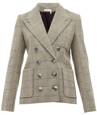 Chloé Checked Double Breasted Wool Blend Blazer - Womens - Grey Multi