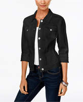 Style&Co. Style & Co Style & Co Petite Black Rinse Denim Jacket, Created for Macy's