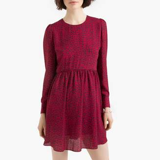 Pepe Jeans Heart Print Flared Dress with Round Neck and Long Puff Sleeves