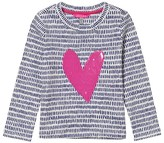Joules Off-White and Navy Dash Sequin Heart Tee