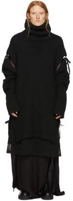 Ann Demeulemeester Black Wool Knitted Turtleneck