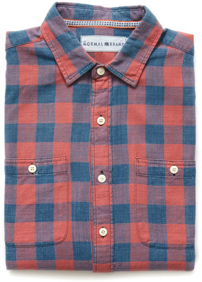 The Normal Brand Buffalo Plaid Button Down Shirt Red Multi S