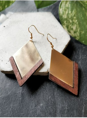 Xander Kostroma Gold Plated Triangle & Wood Drop Earrings