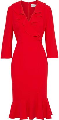 Mikael Aghal Wrap-effect Ruffled Crepe Dress