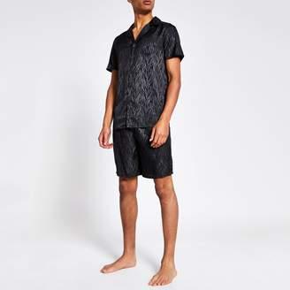River Island Mens Black zebra print short pyjama set