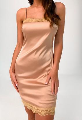 Missguided Tan Satin Lace Trim Mini Dress